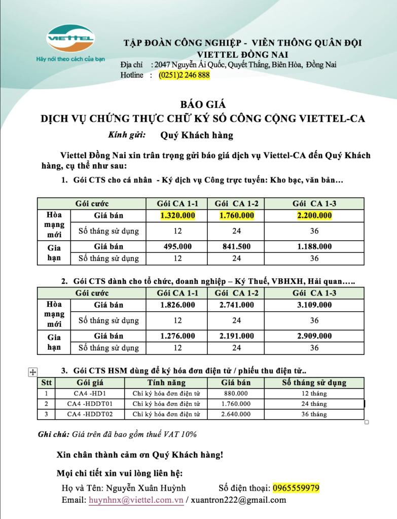 Dịch vụ Chữ ký Viettel Đồng Nai