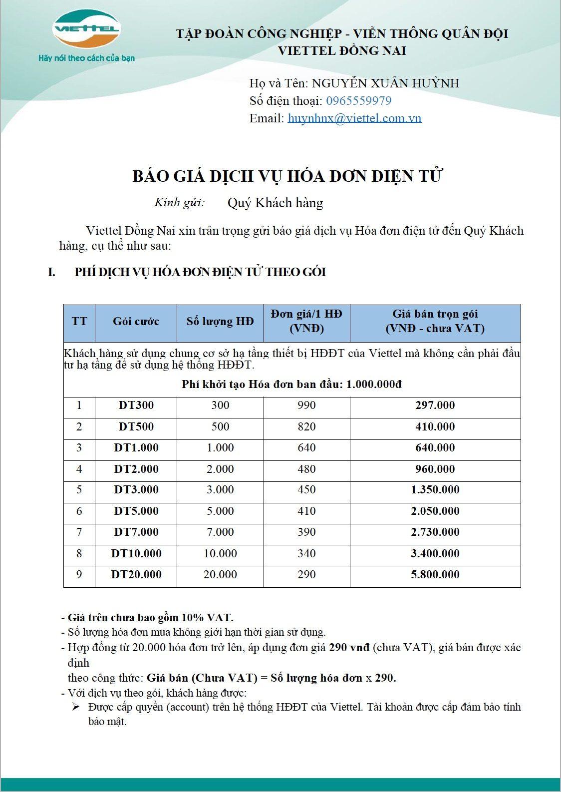 Viettel Đồng Nai Bảng báo giá Hoá đơn điện tử Viettel SInvoice